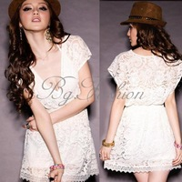 2013 Hot Sexy Women Short Sleeve Solid Deep V-neck Lace Mini Dress Tops Shirt M Free Shipping