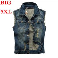 TX181-2 Denim Vest Men 5XL Vests Brand Coats Mens Patchwork Men's Cowboy Waistcoat Brand Man Sleeveless Jacket Clothing