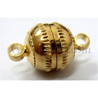 Brass Magnetic Clasps,  Round,  Golden,  13x8mm,  Hole: 1.5mm
