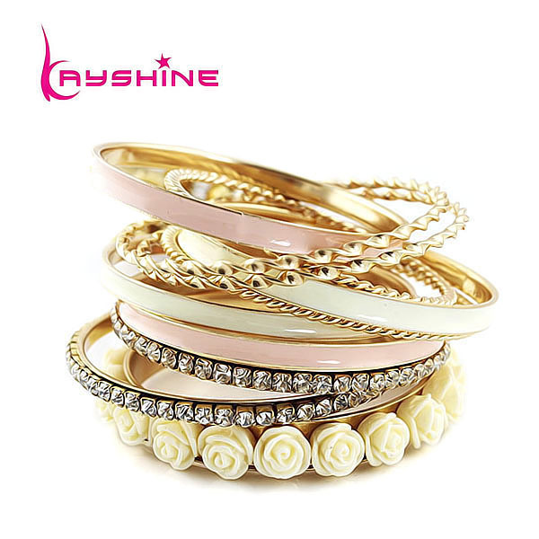 (11pcs /set ) Top Selling Fashion Chunky Jewelry Multilayer Rhinestone and Enamel Resin Flower Bracelets and Bangeles(China (Mainland))