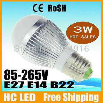 6pcs/lot Free shipping 3W Bubble Ball Bulb E14 E27 B22 Globe light LED Light bulbs Lamp Lighting AC85-265V warm/cool white