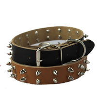 Free shipping 2013 Lefdy New for the large Dogs with spike Genuine Leather cow (tow colors ) HOT sales