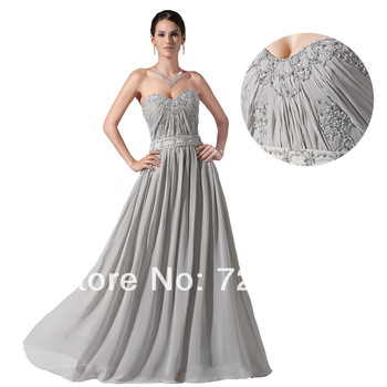 Formal Sexy Grey Chiffon Bridesmaids Soiree Backless Prom Night Dresses New Fashion 2013 Vestidos De Gala Fiesta Cotillion Gowns