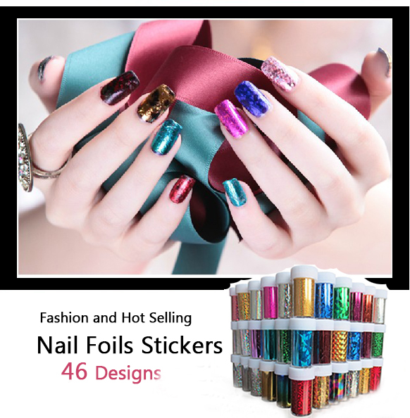 [Hot Sale] Hot 46 Designs Fashion Nail Art Transfer Foil Stickers Decals,24pcs/lot DIY Nail Craft Decorations Wraps Supplies(China (Mainland))