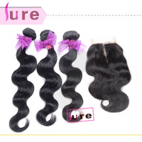 Queen hair products brazilian virgin hair middle part lace closure with body wave bundles,4pcs lot human hair weave wavy