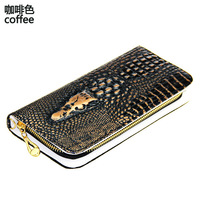 hot selling crocodile hand scales shape ladies' wallet designer gold ring zipper leather woman handbag new fashion purse
