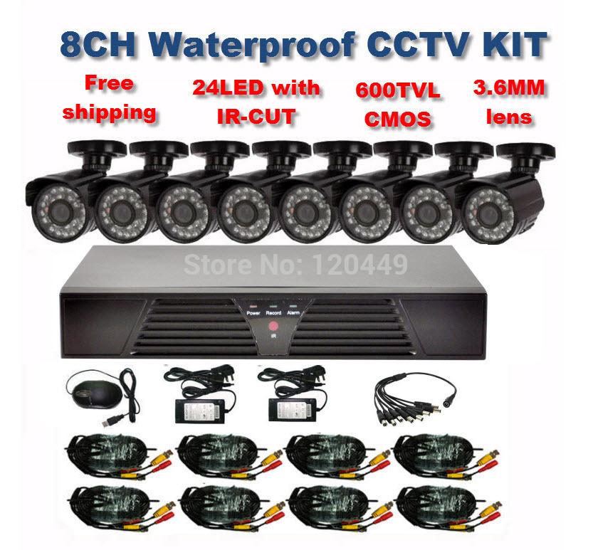 Home 600TVL 8CH CCTV Security Camera System 8CH DVR 600TVL Outdoor Day Night IR Camera DIY Kit Color Video Surveillance System(China (Mainland))