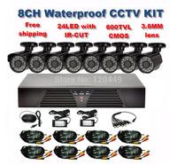 Home 600TVL 8CH CCTV Security Camera System 8CH DVR 600TVL Outdoor Day Night IR Camera DIY Kit Color Video Surveillance System