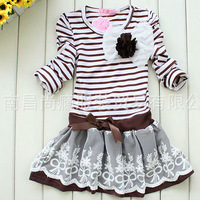 2013 girls striped dresses girl's stripe princess navyblue brown white flower top clothes tops clothing Corsage free shipping
