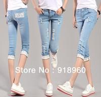 hot Sale Lace women's denim Jeans/sexy Ladies' Pencil Capris pants/skinny pants legging Knee trouser boot cut/WFL