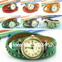 Great Sale 100pcs/lot,Wrap Leather Watch Braided Pendant Ladies Watch,Many Colors Available,DHL Free Shipping To Usa/Europe