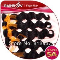 RAINBOW hair products virgin peruvian hair body wave,100% human unprocessed hair4pcs lot,Grade 5A,
