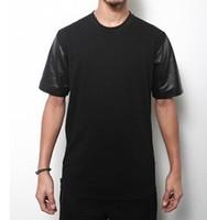 Wholesale Snakeskin PU Patchwork T Shirt Men/ Mens PU Python Leather Short T Shirt Plus Size European Size S-M-L-XL-2XL-3XL