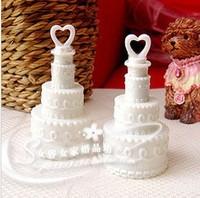 Free shipping 24pcs/lot White Wedding Cake Bubble Bottles soap water bubble bottles baby shower favors