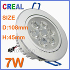 Free shipping 7W LED spotlights 750LM High quality warm white recessed downlight(China (Mainland))