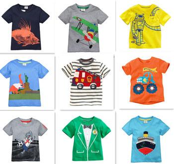 Розничная марка 2015 детская блузка футболка дети мальчиков одежды футболки летней одежды мультфильм динозавр автомобиль бесплатная доставка