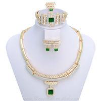 WesternRain Gorgeous Green/Red Rhinestone Pendant  Fashion Jewelry set/18k Gold Plated Indian Jewelry set ,Free shippingA007