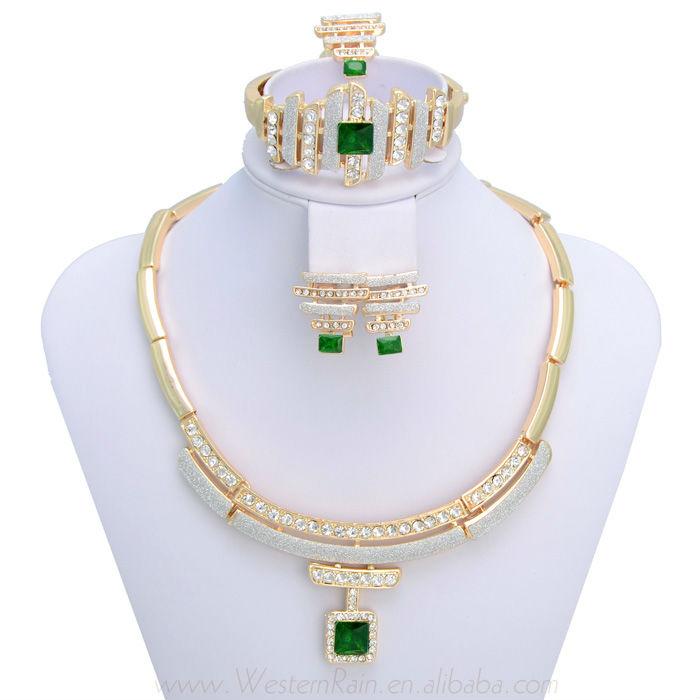Gorgeous Green/Red Rhinestone Pendant Fashion Jewelry set/18 k Gold Plated Indian Jewelry set ,Free shippingA007(China (Mainland))