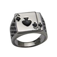 2014 Hotsale Cool Men's Jewelry Chunky 18K White Gold Plated Black Enamel Spades Poker Ring Men