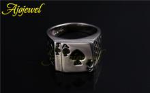 Size 7 12 Hotsale Cool Men s Jewelry Chunky 18K White Gold Plated Black Enamel Spades