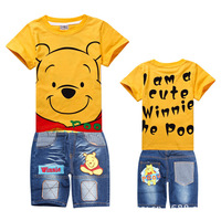 2013 the new autumn clothing set for children/kids baby boy,boy cartoon bear sport suit clothes,long t shirt+ jeans pants set