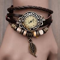 New Arrivals Leather Hand Knit Vintage Wrist Watches,Bracelet Wristwatches Leaf Pendant 5 Colors 18184F